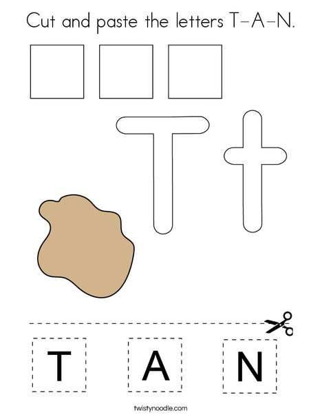 Cut and paste the letters T-A-N. Coloring Page