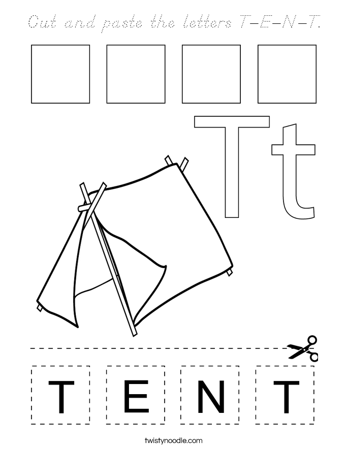 Cut and paste the letters T-E-N-T. Coloring Page