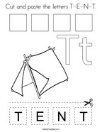 Cut and paste the letters T-E-N-T Coloring Page