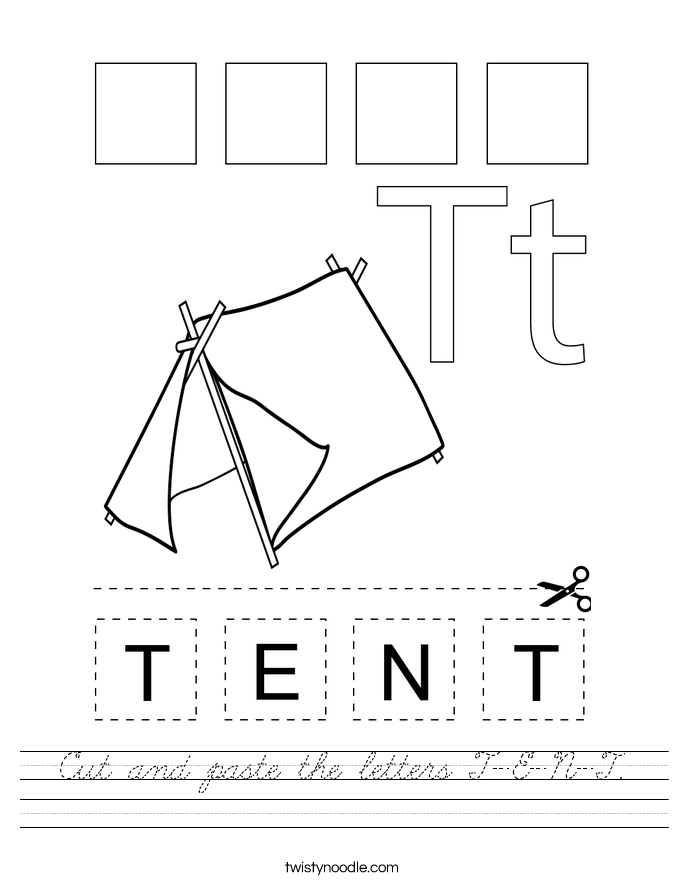 Cut and paste the letters T-E-N-T. Worksheet