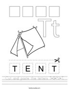 Cut and paste the letters T-E-N-T Handwriting Sheet