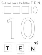 Cut and paste the letters T-E-N Coloring Page