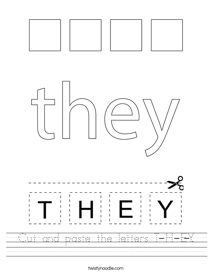 Cut and paste the letters T-H-E-Y. Worksheet