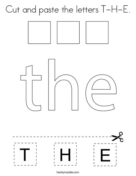 Cut and paste the letters T-H-E. Coloring Page