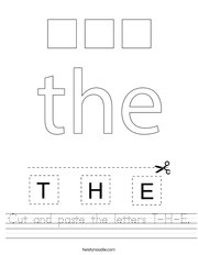Cut and paste the letters T-H-E Handwriting Sheet