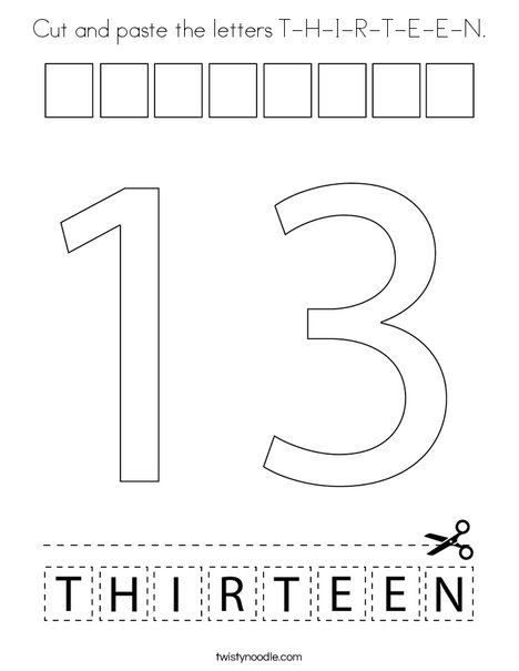 Cut and paste the letters T-H-I-R-T-E-E-N. Coloring Page