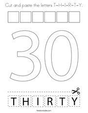 Cut and paste the letters T-H-I-R-T-Y Coloring Page