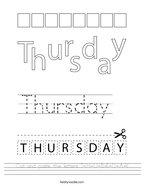 Cut and paste the letters T-H-U-R-S-D-A-Y Handwriting Sheet