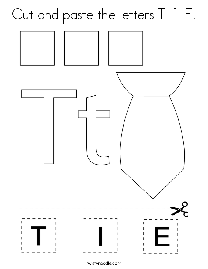 Cut and paste the letters T-I-E. Coloring Page