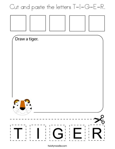 Cut and paste the letters T-I-G-E-R. Coloring Page