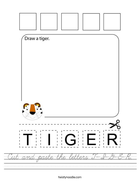 Cut and paste the letters T-I-G-E-R. Worksheet
