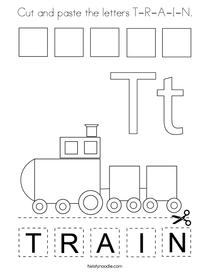 Cut and paste the letters T-R-A-I-N. Coloring Page