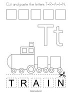 Cut and paste the letters T-R-A-I-N Coloring Page
