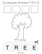 Cut and paste the letters T-R-E-E Coloring Page