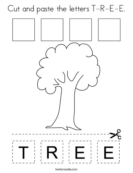Cut and paste the letters T-R-E-E. Coloring Page