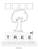 Cut and paste the letters T-R-E-E Handwriting Sheet