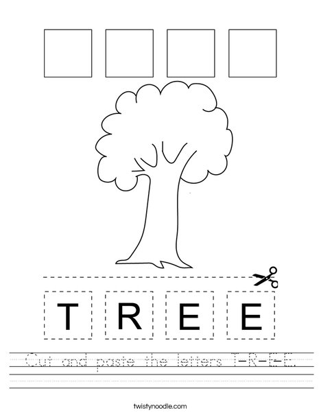 Cut and paste the letters T-R-E-E. Worksheet