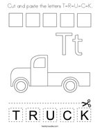 Cut and paste the letters T-R-U-C-K Coloring Page