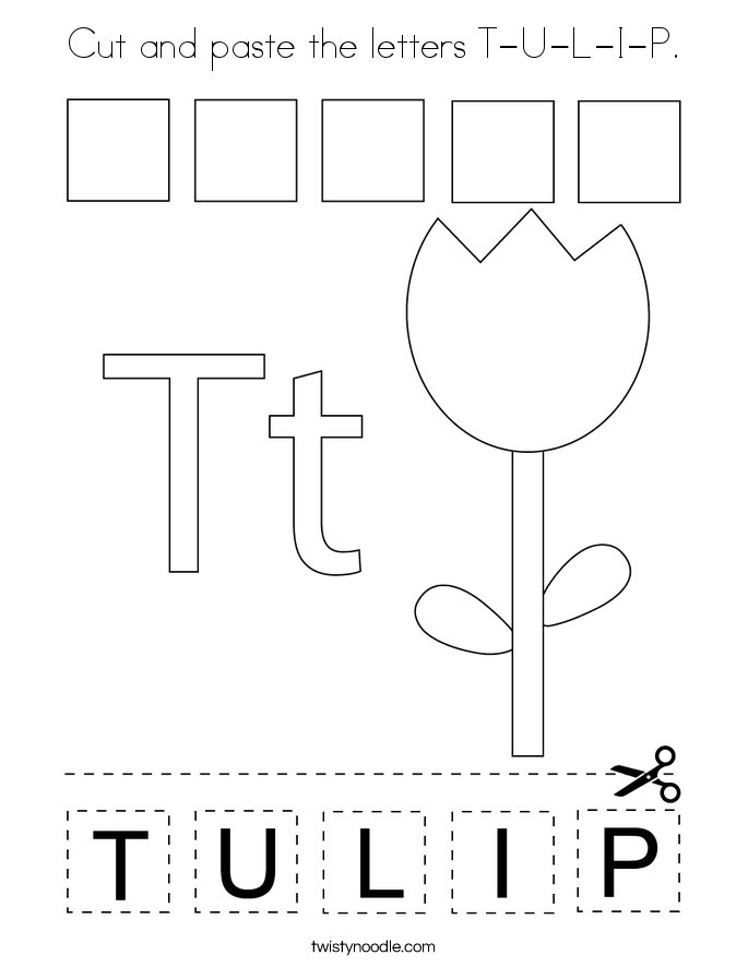 Cut and paste the letters T-U-L-I-P. Coloring Page