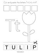 Cut and paste the letters T-U-L-I-P Coloring Page
