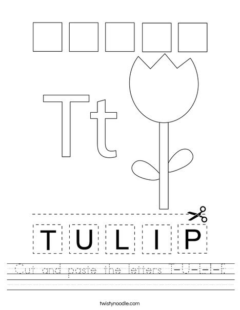 Cut and paste the letters T-U-L-I-P Worksheet