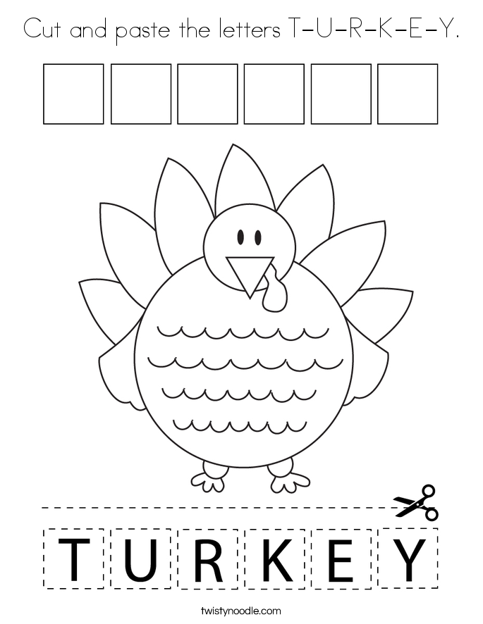 Cut and paste the letters T-U-R-K-E-Y. Coloring Page