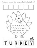 Cut and paste the letters T-U-R-K-E-Y Coloring Page