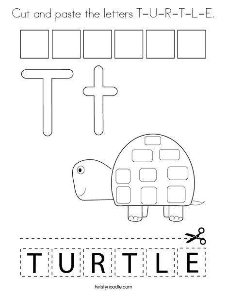 Cut and paste the letters T-U-R-T-L-E. Coloring Page