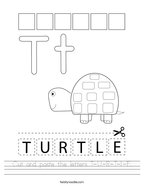 Cut and paste the letters T-U-R-T-L-E Handwriting Sheet