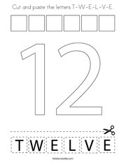 Cut and paste the letters T-W-E-L-V-E Coloring Page