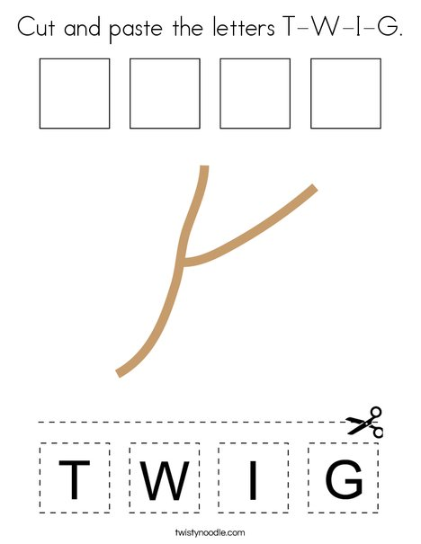 Cut and paste the letters T-W-I-G. Coloring Page