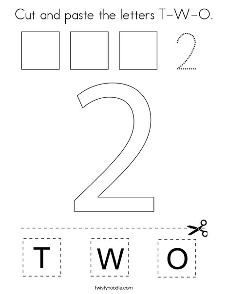 Cut and paste the letters T-W-O. Coloring Page