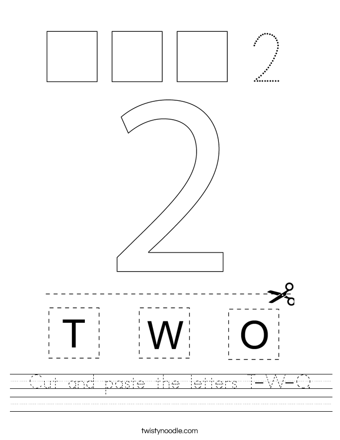 cut-and-paste-the-letters-t-w-o_worksheet T Worksheet Cut And Paste on fall color, body parts, shape matching, for kids, farm animals,