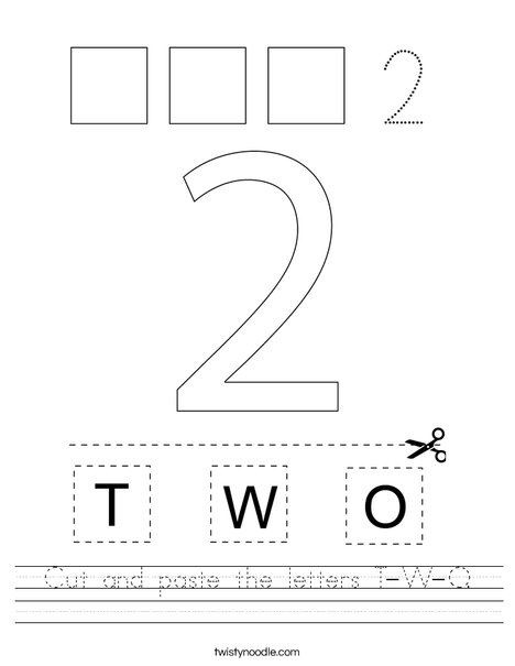 cut and paste the letters t w o worksheet twisty noodle. Black Bedroom Furniture Sets. Home Design Ideas