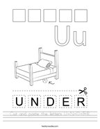 Cut and paste the letters U-N-D-E-R Handwriting Sheet