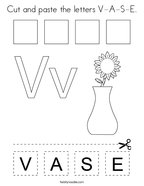 Cut and paste the letters V-A-S-E Coloring Page