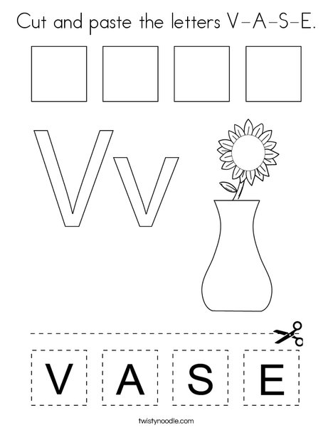 Cut and paste the letters V-A-S-E. Coloring Page