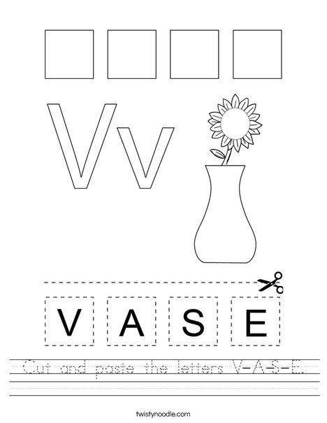 Cut and paste the letters V-A-S-E. Worksheet