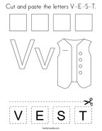 Cut and paste the letters V-E-S-T Coloring Page