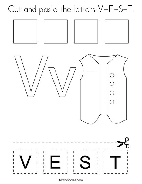 Cut and paste the letters V-E-S-T. Coloring Page