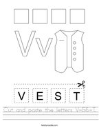 Cut and paste the letters V-E-S-T Handwriting Sheet