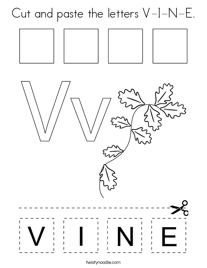 Cut and paste the letters V-I-N-E. Coloring Page