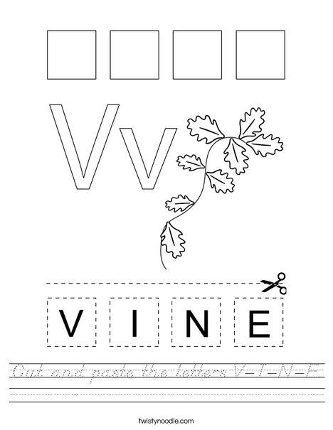 Cut and paste the letters V-I-N-E. Worksheet