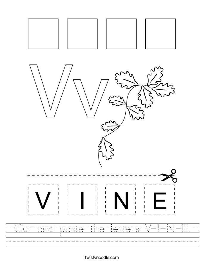 Cut and paste the letters V-I-N-E. Worksheet