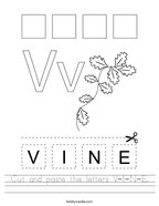 Cut and paste the letters V-I-N-E Handwriting Sheet