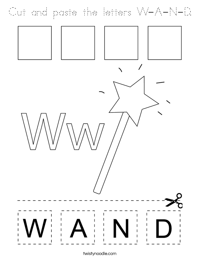 Cut and paste the letters W-A-N-D. Coloring Page