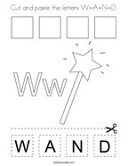 Cut and paste the letters W-A-N-D Coloring Page