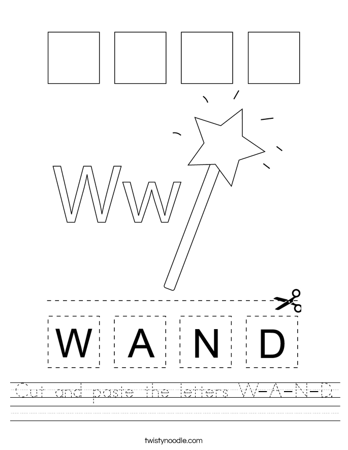 Cut and paste the letters W-A-N-D. Worksheet