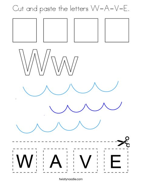 Cut and paste the letters W-A-V-E. Coloring Page