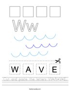 Cut and paste the letters W-A-V-E Handwriting Sheet